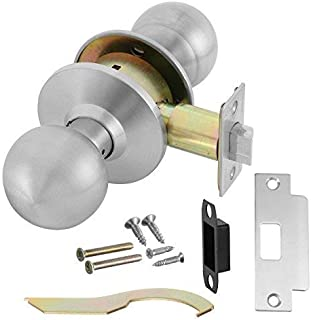 Commercial Grade 2 Passage Door Knob Handle with Cylindrical Lockset, Satin Stainless Steel (US32D), Non-Handed, by Lawrence Hardware LH5301