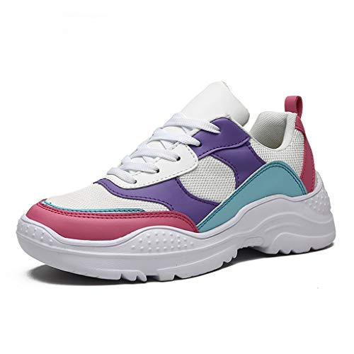 SamenoSt. Chunky Sneakers for Women Girls - Fashion Color Match Mesh Casual Walking Shoes Student Sport Tennis Trainers