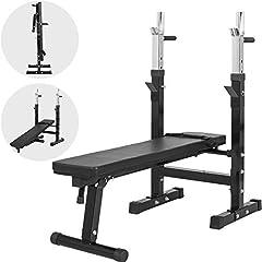 GORILLA SPORTS® gewichtsbank met verstelbare plank Zwart - trainingsbank opvouwbaar met diphendels tot 200 kg belastbaar*