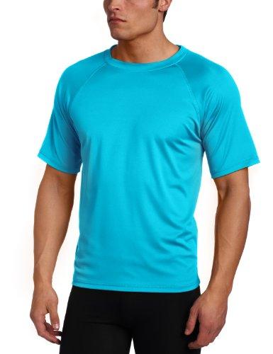 Kanu Surf Men's Short Sleeve UPF 50+ Swim Shirt (Regular & Extended Sizes), Neon Blue, 3X
