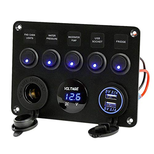 Bostar 5 Brazo Interruptor de pandilla Panel de Control LED balancín 12V / 24V Coche Barco Marino 2 USB y voltímetro