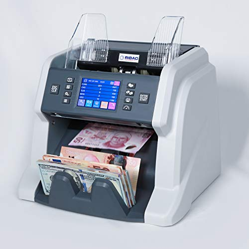 Ribao BC-55 Mixed Denomination Bill Counter UV/MG/MT/IR 2 CIS Image Sensors Counterfeit Detection Money Counter and Sorter with Currency Serial Number Recognition, Two-Year Warranty