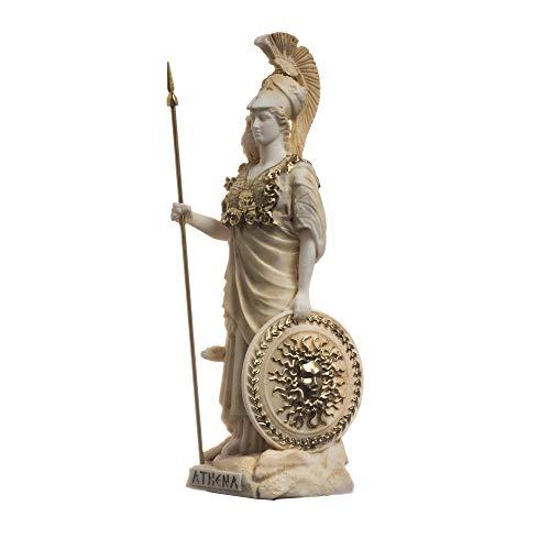 Athena met uil Medusa Holding Schild Griekse godin Albast standbeeld Goud 6.69″