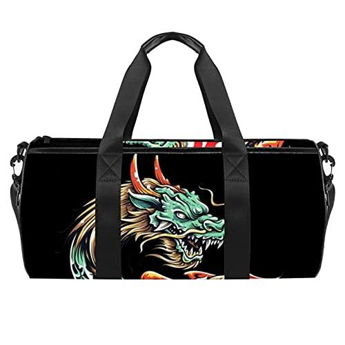 Bolsa de gimnasio de dragón chino para hombres y mujeres bolsas de fin de semana bolsa de viaje deportiva con bolsillo impermeable