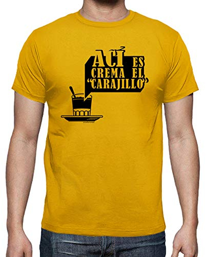 latostadora - Camiseta AC para Hombre Amarillo Mostaza M