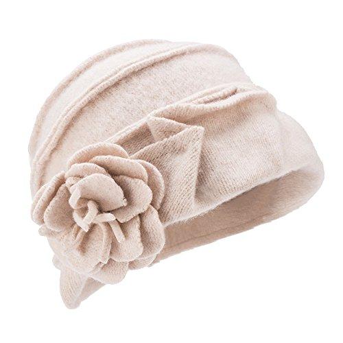 Sombrero de invierno, para mujer, estilo retro de los años 20, 100% de lana, gorro con forma cuadrada, A376