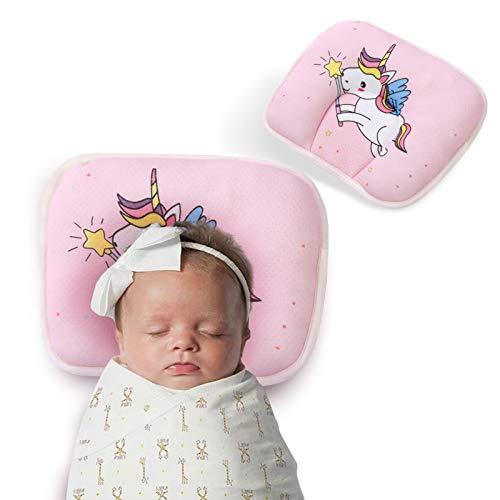 Orthopädisches Babykissen gegen Plattkopf Babykissen Neugeborene Baby Kissen Zubehör zur Heilung und Vorsorge der Plagiozephalie Schädelverformung Babykopfkissen Eingetragenes Design, Pink Unicorn