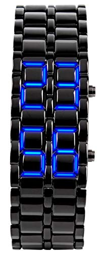 Mastop Men's Lava Stainless Steel Lava RED LED Digital Bracelet Watch (Black -Blue LED)