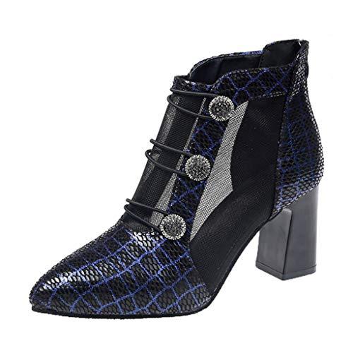 Mujer Tacón Alto Botas Cortas,Proumy De Las Mujeres Botas Puntiagudas Zapatos Malla...