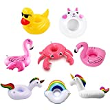 NIUPSKY 8PCS Inflatable Pool Float Drink Cup Holder, Inflable Bebida Flotante Portavasos, para la Piscina y Porta Bebidas para (Nube Conejito Unicornio pequeño Pato Amarillo Flamenco Pulpo Seta de