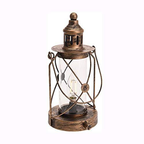 HIGHKAS Vintage Glas Metall Kerosin Lampe Antike batteriebetriebene LED LED Paraffin Öllampe Hurricane Storm Lantern Nachtlampe Home Notlicht Dekorative Lampe