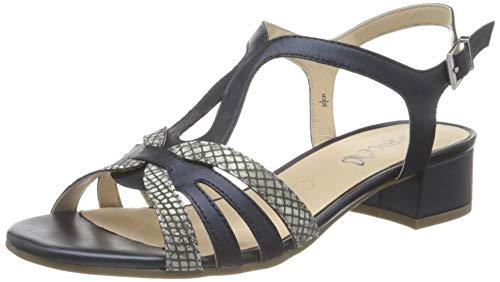 Caprice Damen 9-9-28201-26 Sandale mit Absatz, Navy Snake COM, 39 EU