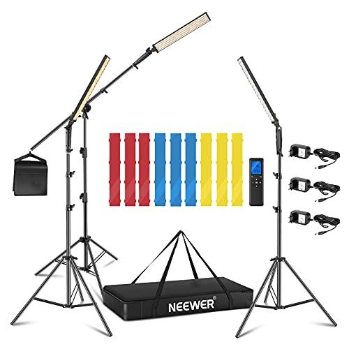 Neewer 3 Packs 2.4 GHz Kit Iluminación LED Luz Palo con 3 Filtros Color - Remoto Regulable 3200K-5600K 21W CRI 95 con Soporte Brazo de Pluma, Filtros (Rojo/Amarillo/Azul) y Bolsa, Batería Aplicable