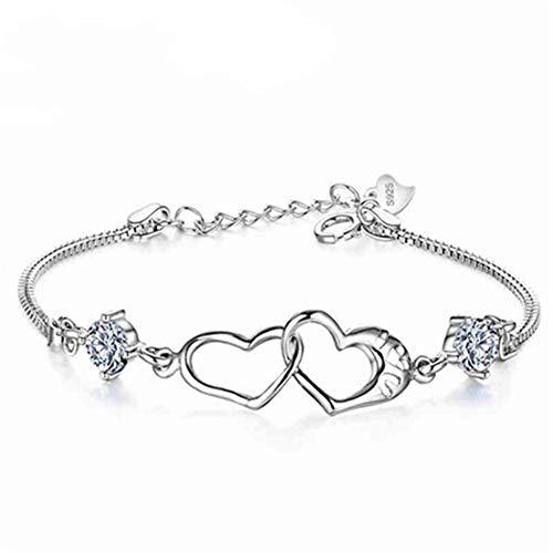 #N/A - Pulsera con colgante de corazón doble con diamantes de imitación, simple, elegante, exquisita cadena de serpentina, para mujeres y niñas, regalo de cumpleaños, cobre, Blanco, as the description