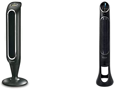 Honeywell Fresh Breeze Tower Fan with Remote Control HYF048 Black With Programmable Thermostat, Timer Shut-Off Function & Dust Filter & QuietSet Whole Room Tower Fan-Black, HYF290B