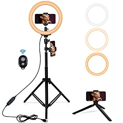 "Amazon - Save 35%: 10″ Selfie Ring Light with 62""Extendable Tripod Stand, [3 Modes 8 Bright…"