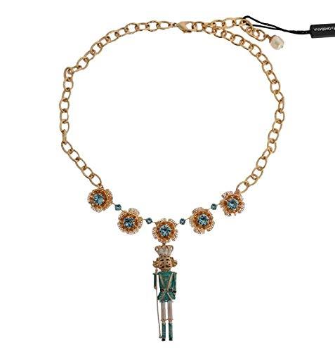 Dolce & Gabbana Collar de latón Dorado Pintado a Mano con Flores de Cristal