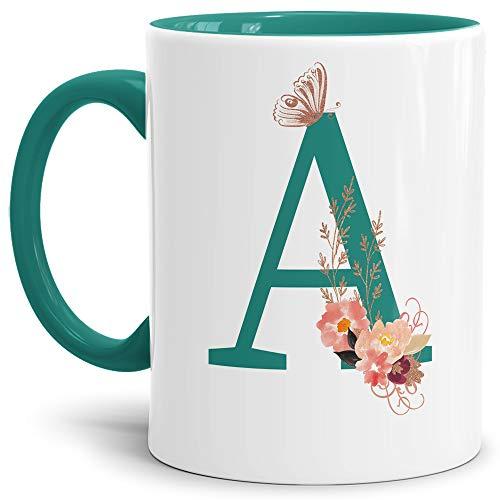 Tassendruck Buchstaben-Tasse mit Blumen - Buchstabe A - Innen & Henkel Türkis - Mug/Cup/Becher/Edel/Geschenk-Idee/Beste Qualität - 25 Jahre Erfahrung