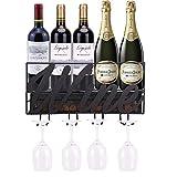 YCOCO Wall Mounted Metal Wine Rack,Hanging Stemware Glass Holder,Wine Corks Storage Wine Kitchen Storage Rack,Modern Home Kitchen Decor,Black