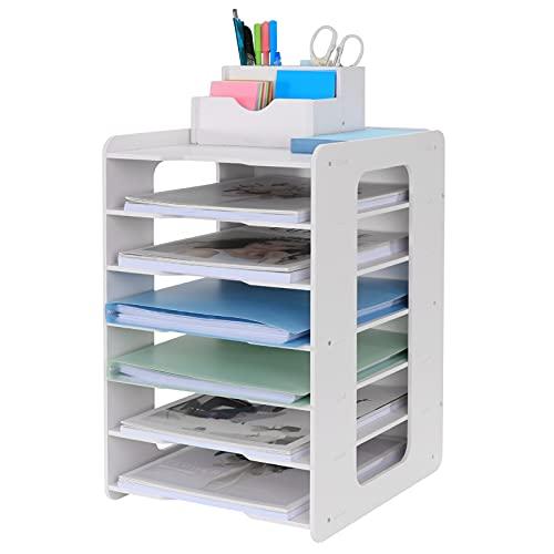 Schreibtisch-Organizer, Briefablage, Dokumentenhalter, A4-Papierablage, für Zuhause, Büro, Schule, 7 Ablagefächer