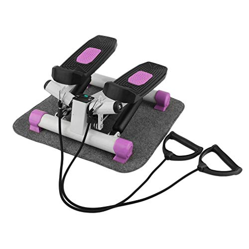 ALTERDJ Ultrasport Up-Down Stepper Fitness Mini Stepper Heimtrainer mit verstellbarem Widerstand LCD Anzeige Trainingsgürtel und Matte (Rosa)