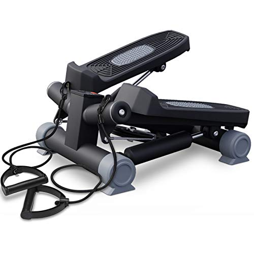 HAPICHIL Steppers for Exercise, Mini Stair Under Desk Bike Pedal Exerciser with LCD Monitor & Resistance Bands