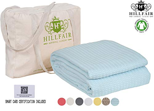 HILLFAIR 100% Certified Organic Cotton Winter Blankets- King Size Bed Blankets- All Season Cotton Blanket- Blue King Size Cotton Blanket- Soft Cozy King Size Blankets for Bed - Organic Cotton Blankets