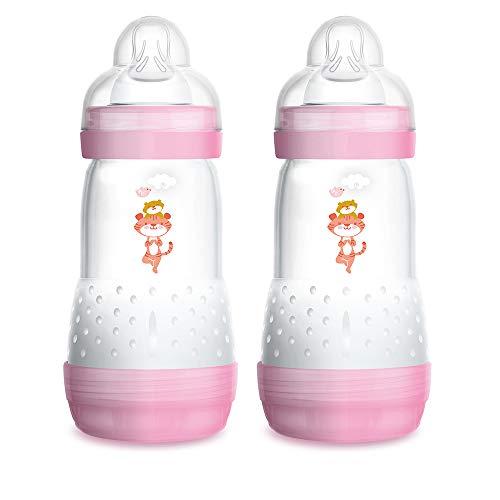 Biberón Easy Start Anti-Colic A138 - Biberón Anticólicos patentado con Tetina de Silicona SkinSoftTM ultra suave, 260ml, Bebés a partir de 2 meses, Rosa, 2 unidades, autoesterilizable en 3 min