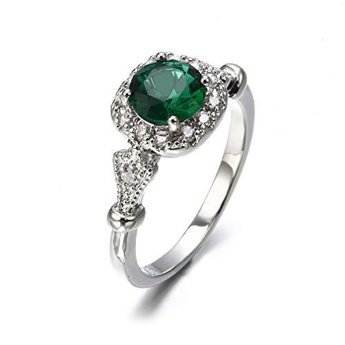 Weisin Anillo de piedras preciosas artificiales con diamantes de imitación cuadrados, circonitas cúbicas, anillos de compromiso para mujer, #6