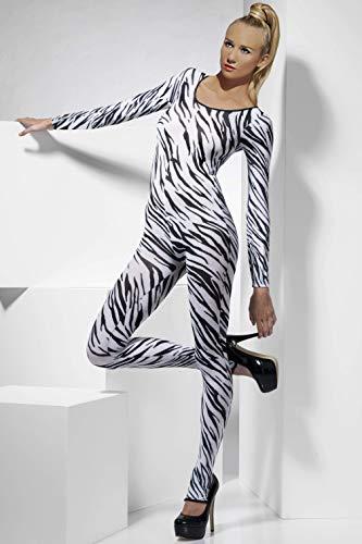 Catsuit sexy Stretchanzug Dessous Zebramuster halbtransparent Ganzkörper