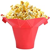 Silicone Microwave Popcorn Maker Collapsible Hot Air Large High BPA-Free Temperature Resistance Foldable Bowl Reusable Popcorn Popper, No Oil, Red.