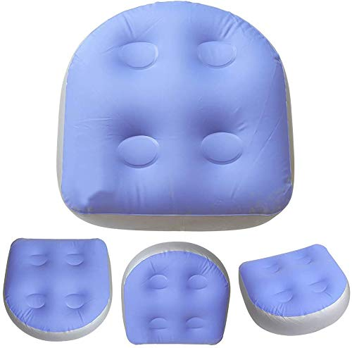 LUNK Back Pad Spa Cushion,Massage Mat Soft Inflatable Booster Seat for Spas and Hot Tubs for Adults Kids (4PCS, Blue)