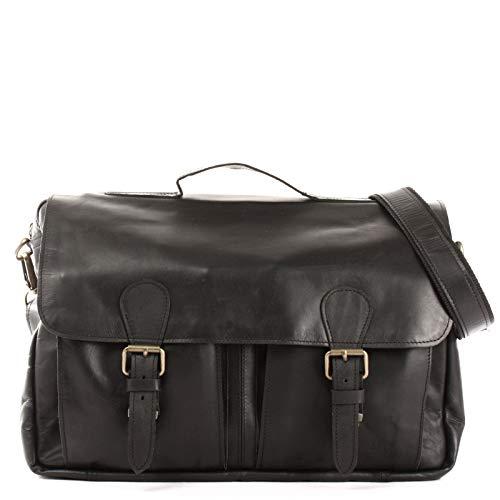 LECONI Aktentasche DIN A4 Businesstasche Messenger Bag Ledertasche Unitasche Vintage für Damen & Herren Leder 40x29x9cm schwarz LE3029-wax