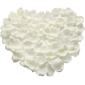 Pétalos de Rosa de Seda,1000 Pack Pétalos de Flores Decoración Romántica Artificiales para Boda Dispersión Mesa de Confeti del San Valentín 5 * 5cm Blanco