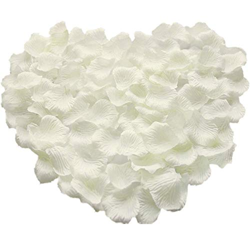 Rosenblätter,1000 Pack Seide Künstliche Rosenblüten Romantische Dekoration für Hochzeit Valentinstag Konfetti Tisch Streuung 5 * 5CM Weiß