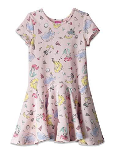 Disney Princesses Toddler Girls Short Sleeve All-Over Print Dress Pink 5T