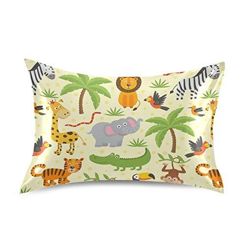 HaJie - Funda de almohada de satén para pelo y piel, diseño de cebra y tigre