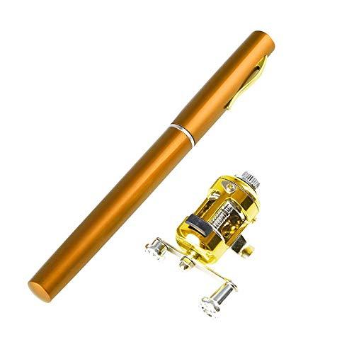 Mini caña de pescar telescópica de bolsillo portátil de aleación de aluminio con forma de pluma de caña de pescar con rueda de carrete (amarillo)