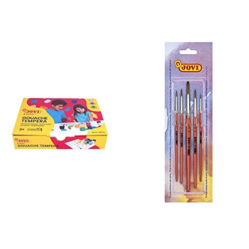 Jovi 152818 Caja De 12 Botes De Tempera Escolar De 35 Ml, Gel Licuado En Colores Vivos, 1 Unidad, Multicolor + Pinceles Artisticos Pelo Poney, Unica (8185)