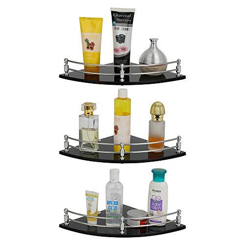 U-S-F BATH ACCESSORIES Glass Corner Shelf Bathroom Shelf and Kitchen Shelf Bathroom Accessories - 9 X 9 Inches -Black(Transparent) Pack of 3 (Round)