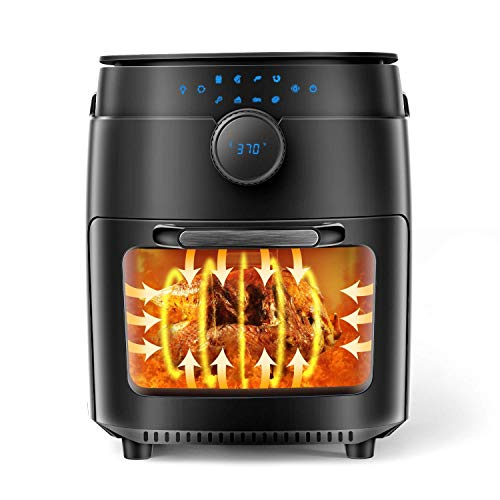 MOOSOO 12.7 Quart Air Fryer, 1800W Air Fryer Oven 8-in-1, Oil-less Electric Air Fryer with Dehydrator, Rotisserie & Bake, LED Digital Touchscreen, Time & Temperature Dial, Including Accessories and Air Fryer Cookbook (100 Recipes)