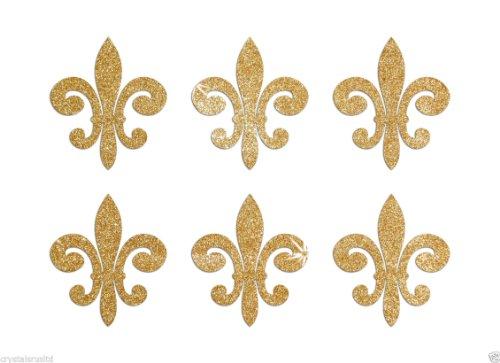 24 Gold Fleur De Lis Self Adhesive Glitter Stickers Card Making Craft DIY 1 inch