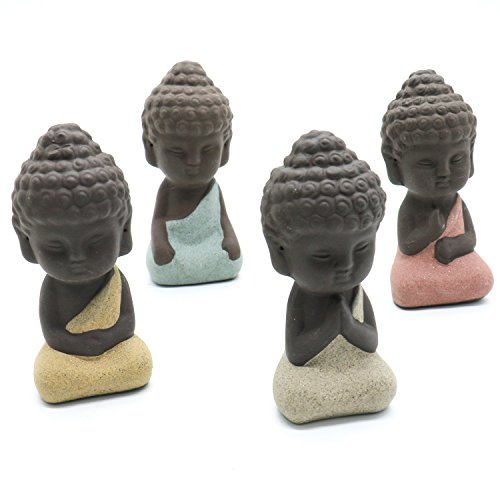 SenseYo 4 Pieces Traditional Cute Small Buddha Statue India Yoga Mandala Sculptures Monk Figurine Monk Tea Pet Decoration on Kungfu Tray