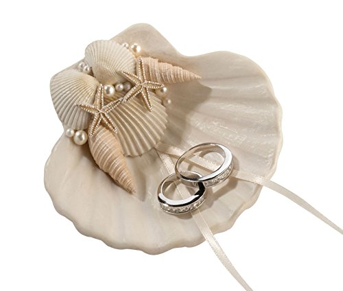 Lillian Rose RA460 Ring Pillow Alternative Coastal Seashell Holder, Multicolor