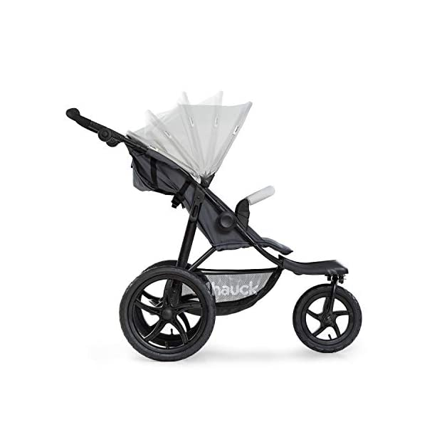 Hauck Runner, Jogger Style, 3-Wheeler, Pushchair with Extra Large Air Wheels, Foldable Buggy, For Children from Birth to 25kg, Lying Position - Silver Grey Hauck LONG USE - This 3-wheel pushchair is suitable from birth (in lying position or in combination with the 2in1 Carrycot) and can be loaded up to 25kg (seat unit 22 kg + basket 3 kg) ALL-TERRAIN - Thanks to the big air wheels - back 39cm diameter, front 30 diameter – as well to the swiveling and lockable front wheel, this jogger style pushchair can be used on almost any terrain COMFORTABLE - Thanks to adjustable backrest and footrest, sun canopy, large shopping basket, and height-adjustable push handle 16