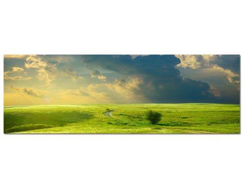 PANORAMA BILD 150x50cm (Grün Wiese Irland) Wandbilder Bilder EXKLUSIVES Fotowandbild auf Leinwand und Keilrahmen Bild Leinwandbild Fotodruck modern Zeitlos Stilvoll wie ein Gemälde