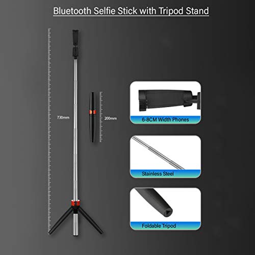 pTron Glam Plus Bluetooth Extendable Selfie Stick with Tripod Stand, Wireless Remote, 73cm Extended Length, Compatible with 6-8cm Width Phones & Replaceable Battery - (Black & Red)