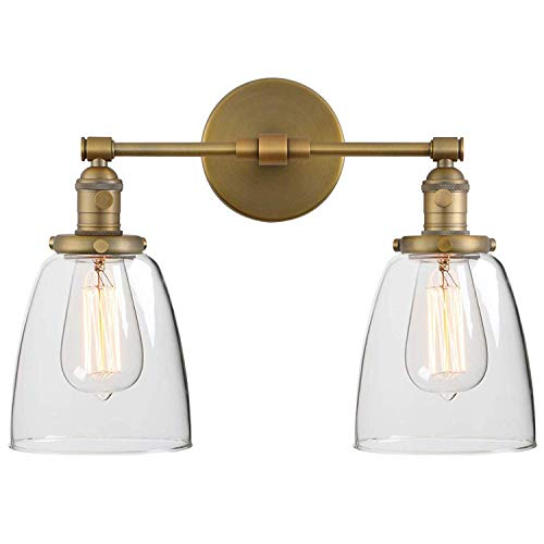 YLLN Industrial Badezimmer Wandleuchte mit Schalter, Zwei Klarglas Lampenschirm, Bad Spiegel Licht Wandleuchte Innen 2-Lichter E27 Wandleuchten für Badezimmer, Waschtisch, Cafe - Antiqu