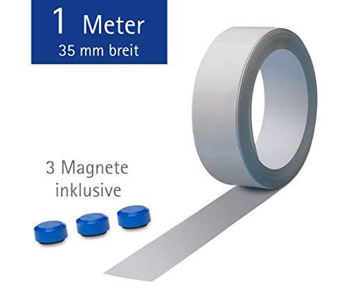 Maul Ferroband, Selbstklebende Magnethaft-Wandleiste aus Stahlblech, Größe 100 cm x 3,5 cm, Weiß, Inklusive 3 Rundmagnete