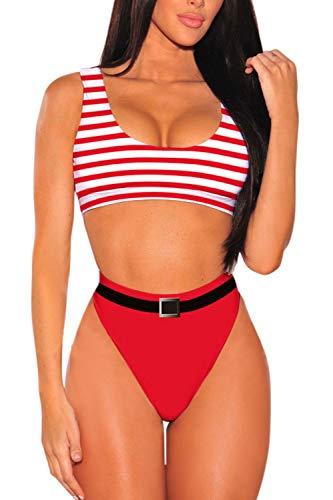 Pink Queen Women's Christmas Santa Hat Crop Top High Waisted Cheeky Two Piece Bikini Set Swimsuit L